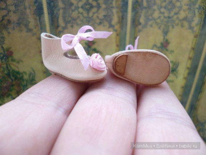 Кожаные туфельки с каблуком для куклы, длина 25,5 мм