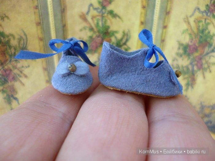 Маленькие замшевые туфельки для куклы, длина 27 мм