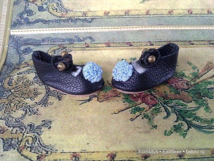 Крошечные кожаные туфельки для куклы, длина 20 мм