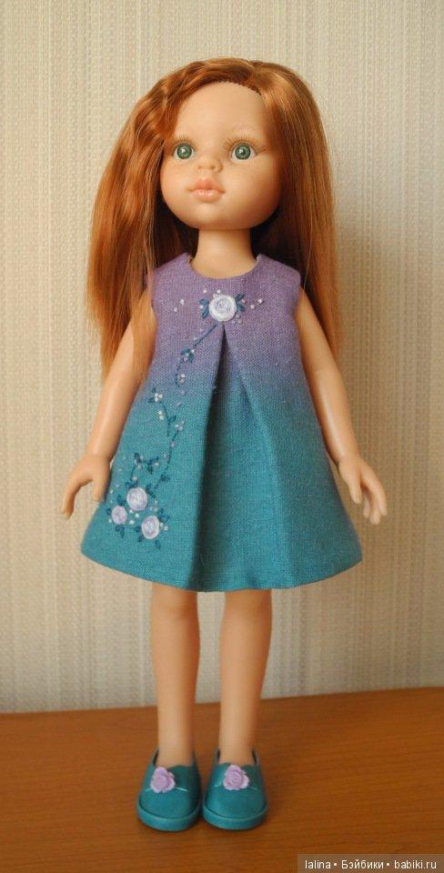 платье с вышивкой и туфельки, авторская работа Галины Лайковой для куклы Paola Reina 32 см и аналогичных