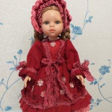 Платье пальто и боннет куклы Paola Reina 32 - 34 см Вишневый джем