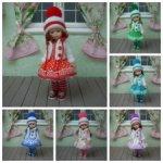 Шесть разноцветных теплых комплектов на кукол Паола Рейна мини 21 см.