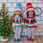 Свитера, шапочки и туники с жаккардом на кукол Паола Рейна 34 см.