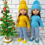 Свитера и шапочки с аранами на кукол Паола Рейна 34 см.