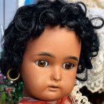 Антикварная немецкая коллекционная кукла Kammer & Reinhardt Mulatto