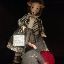Коллекционная кукла ,Ежиха с мышью