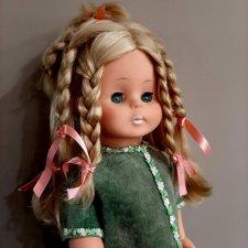 Редкая кукла ГДР с необычайно густыми волосами