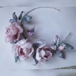 Венок из шелковых цветов Французские розы. Ручная работа. Натуральный шелк