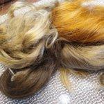 Прядки русых волос длинна до 40 см до 60 см.