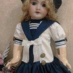 Комплект в морском стиле с заниженной талией для кукол ростом 50-55см.