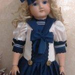 Нарядный комплект в морском стиле  для кукол ростом 65-72см.