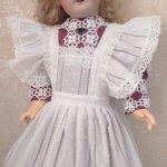 Комплект-платье и фартук для куклы ростом 55см.