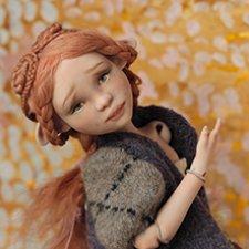 Солнечная птичка. Фарфоровая шарнирная кукла