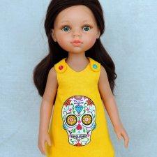 Льняное платье «Веселый Роджер» с ручной росписью на куклу Paola Reina 32 см