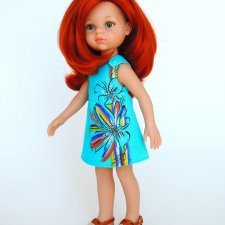 Льняное платье «Яркий цветок» с ручной росписью на куклу Paola Reina 32 см