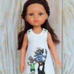 Льняное платье «Ну, погоди!» с ручной росписью на куклу Paola Reina 32 см