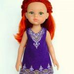 Льняное платье «Мехенди» с ручной росписью на куклу Paola Reina 32 см