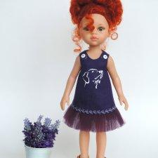 Льняное платье «Верный друг» с ручной росписью на куклу Paola Reina 32 см