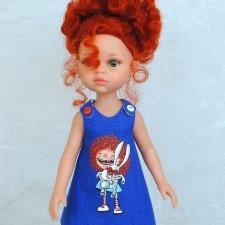 Льняное платье с ручной росписью на куклу Paola Reina 32 см