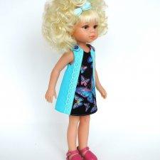Льняное платье «Бабочки» для куклы Paola Reina 33 см