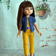 описание вязания спицами комплекта одежды для куклы обучающие