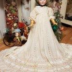 Просто царское шелковое антикварное платье на большую куклу
