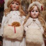 Две винтажные детские муфты для больших антикварных красавиц