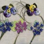 Цветы из шелка и бархата  для антикварных кукол.