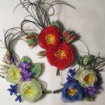 Цветы из шелка для антикварных кукол.
