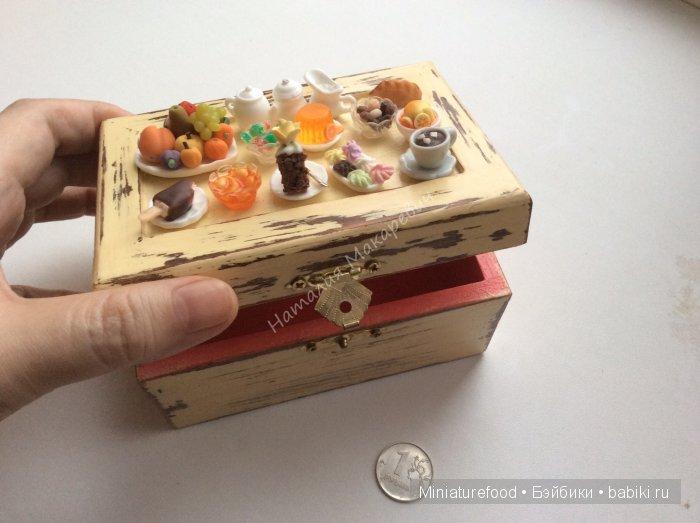 Шкатулка ручной работы с имитацией еды на крышке
