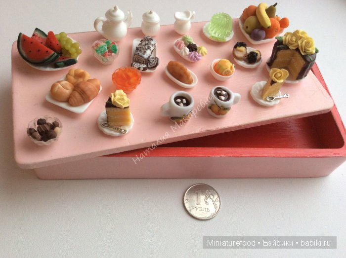 Шкатулка ручной работы с имитацией еды на крышке для девушки