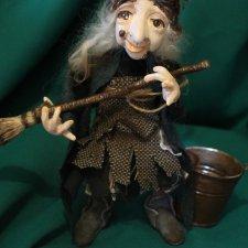 Авторская кукла Баба-яга со ступой