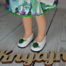 Красивые фирменные туфли с зелеными бантиками от Паола Рейна