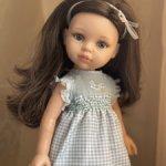 Платье с буфами комбинированное для кукол Paola Reina и других подобных