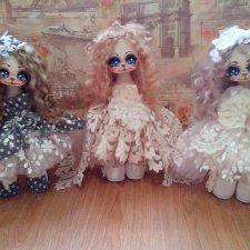 Авторские куколки их ткани Кошки Чикановой Ирины