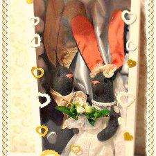 Свадебные зайки в подарочной коробке
