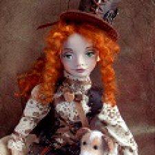 Эстер, подвижная авторская  куколка и ее собачка Дороти