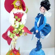 Красивым девушкам есть о чем поболтать. Текстильные куклы своими руками