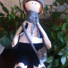Интерьерная текстильная кукла ручной работы, большеножка Миша