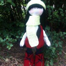 Интерьерная текстильная кукла ручной работы большеножка Лиза
