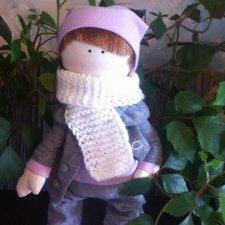 Интерьерная текстильная кукла ручной работы большеножка Сережа