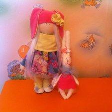 Интерьерная авторская текстильная кукла Зайка