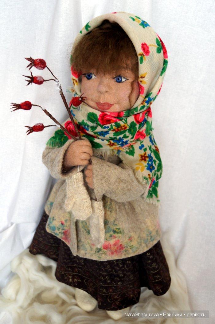 Дария.В зимний лес за огоньками. Рост 60см.Валяние на каркасе.Нижняя одежда и сарафан текстиль.Душегрейка и валенки мокрое валяние.