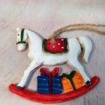 Елочная игрушка-лошадка. Винтаж.