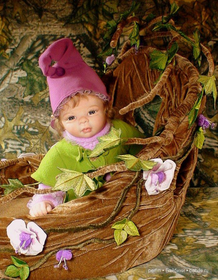 """Кукла реборн эльфик Виолетта. Колыбелька """"Лесной домик"""" Автор Ирина Перфилова (Perfiri)."""