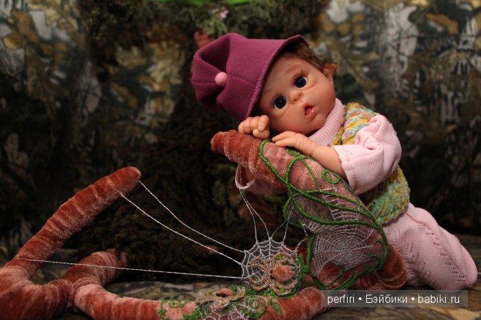 """Колыбелька """"Домик эльфа"""". Кукла реборн эльфик Синеглазка. Автор Ирина Перфилова (Perfiri)"""