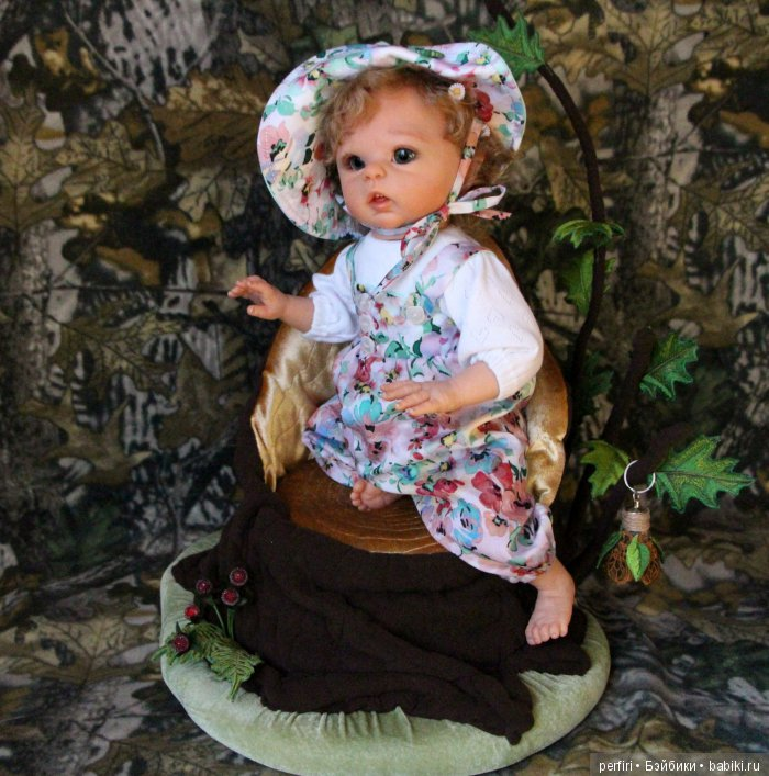 "Кукла реборн эльфик Луна. Кресло для куклы ""Пенёк"""