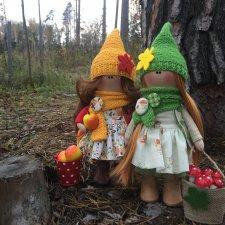 Осенние девчушки Мила и Адель. Текстильные куклы
