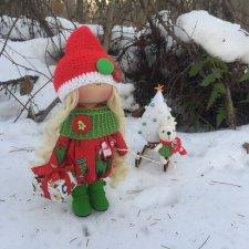 Новогодняя девочка Санта. Кукла из ткани