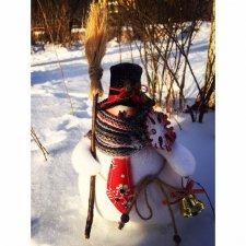 Снеговичок пухлячок. Кукла из ткани